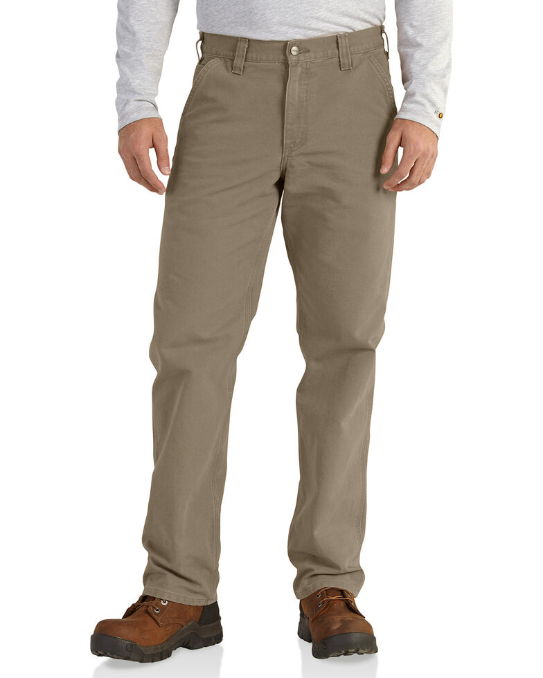 Carhartt Men's Relaxed Fit Washed Duck Work Dungarees, Sand, hi-res