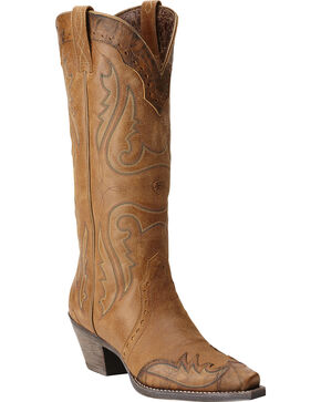 Ariat Heritage Western Wingtip Cowgirl Boots - Snip Toe, Tan, hi-res