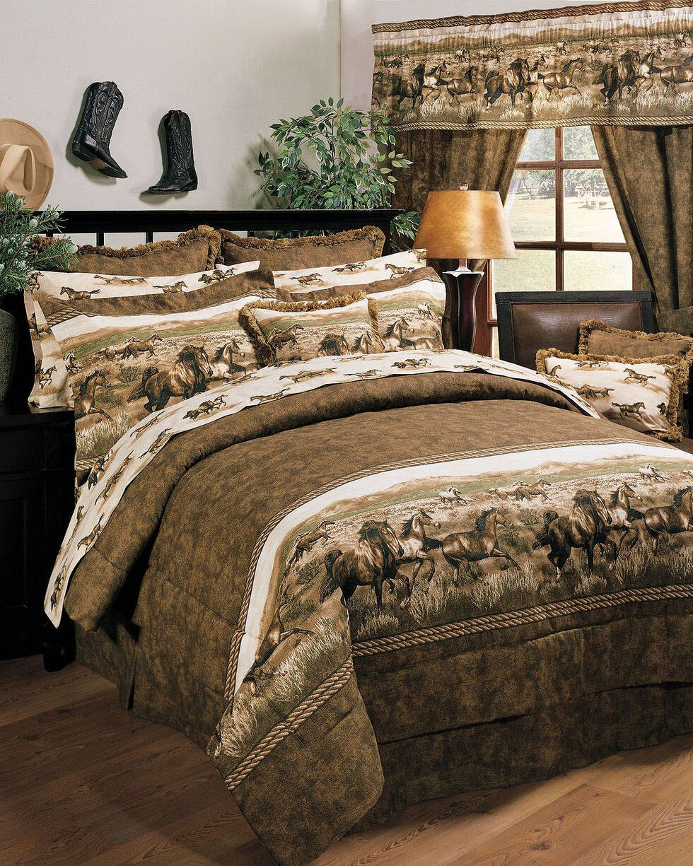 Karin Maki Wild Horses Queen Comforter Set, Brown, hi-res