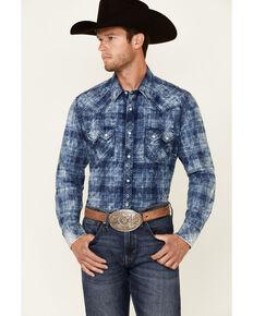 Rock & Roll Denim Men's Navy Washed Large Plaid Long Sleeve Snap Western Shirt , Navy, hi-res
