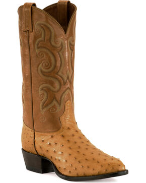 Tony Lama Full Quill Ostrich Western Boots - Pointed Toe, Natural, hi-res
