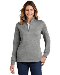 Sport Tek Women's Vintage Heather 3X 1/4 Zip Front Work Pullover - Plus, Grey, hi-res