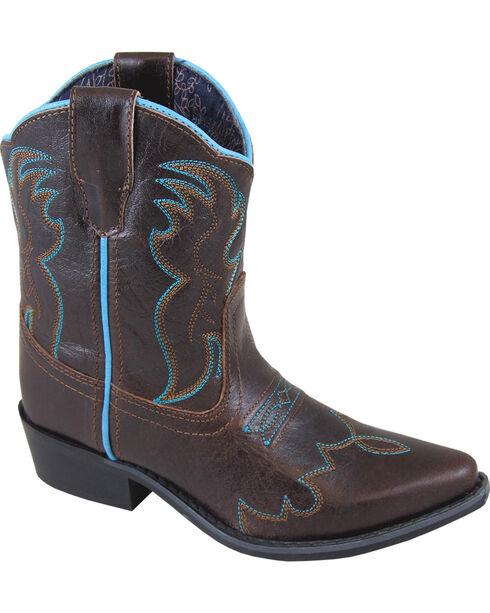 Smoky Mountain Youth Girls' Juniper Short Western Boot - Snip Toe, Brown, hi-res