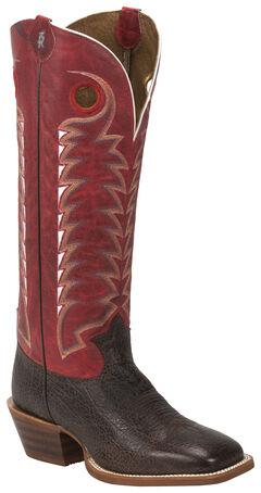 Tony Lama Dusky Bonham 3R Buckaroo Cowboy Boots - Square Toe , Dark Brown, hi-res
