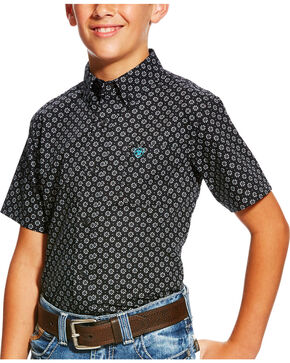 Ariat Boys' Casual Series Black Print Short Sleeve Button Down Shirt, Black, hi-res