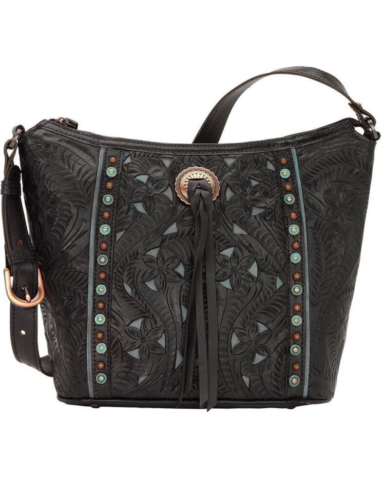 American West Women's Hill Country Tote Bag , Black, hi-res