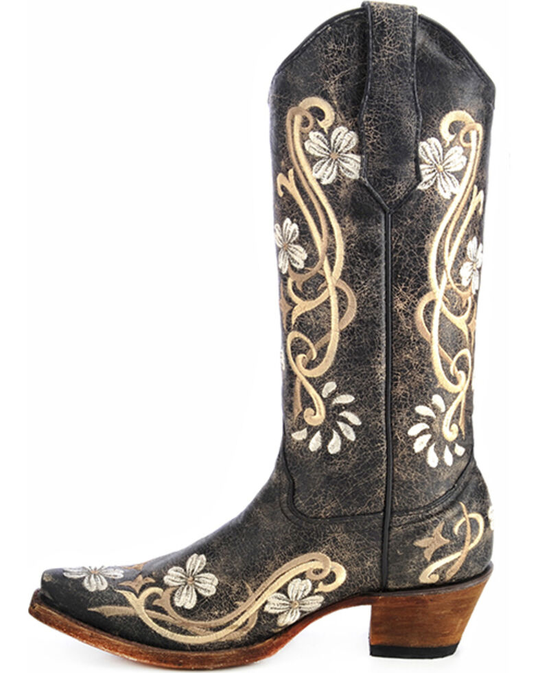 Circle G Floral Embroidered Cowgirl Boots - Snip Toe, Black, hi-res