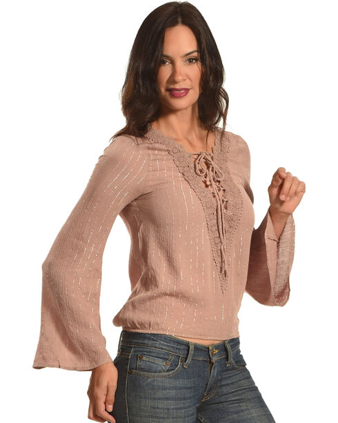 HYFVE Women's Lace-Up Cinched Long Sleeve Top, Taupe, hi-res
