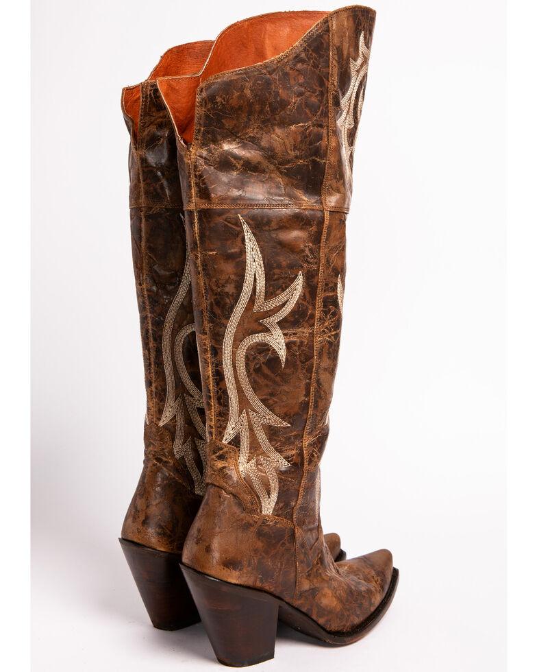 Dan Post Women's Chestnut Jilted Knee Boots - Snip Toe , Chestnut, hi-res