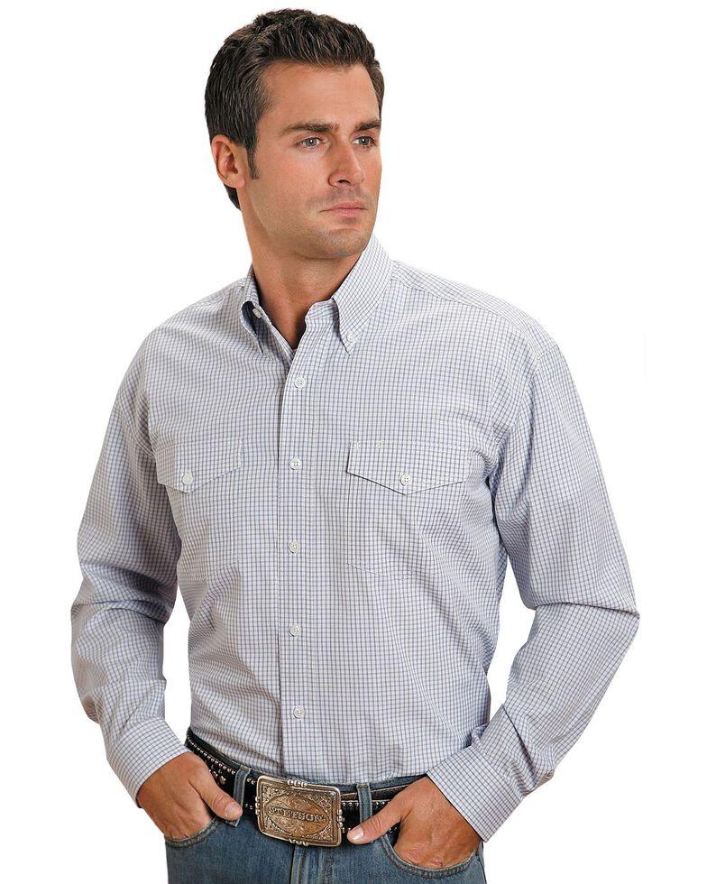 Stetson Plaid Check Button Shirt, Blue, hi-res