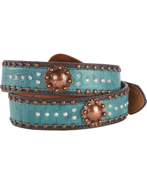 Shyanne Women's Turquoise Concho and Bling Belt, Brown, hi-res
