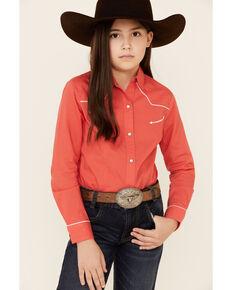 Cruel Girl Girls' Coral Solid Long Sleeve Western Shirt , Coral, hi-res
