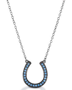 Kelly Herd Women's Turquoise Horseshoe Necklace , Silver, hi-res