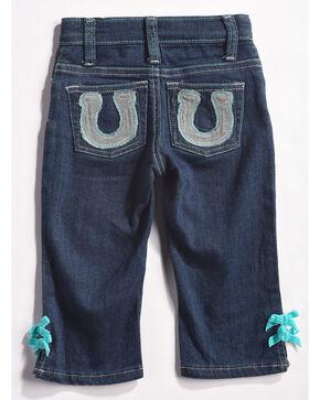 Wrangler Infant/Toddler Girls' Indigo Horseshoe Pocket Jeans - Straight Leg , Indigo, hi-res