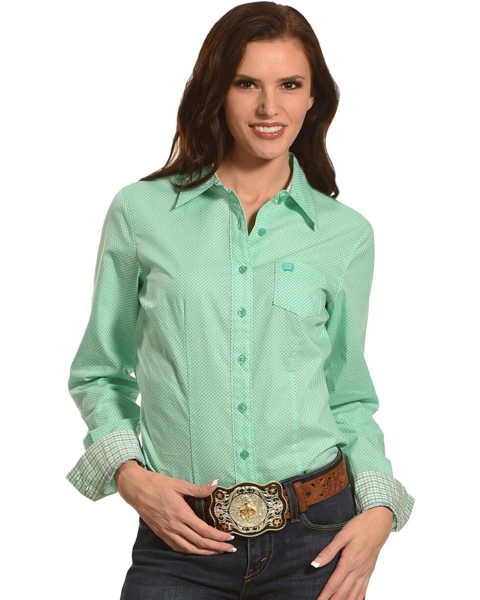 Cinch Women's Mint Plain Weave Print Long Sleeve Button Down Shirt, Green, hi-res