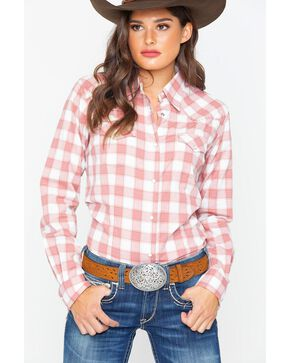 Wrangler Women's Pink Checkered Plaid Western Shirt , Pink, hi-res