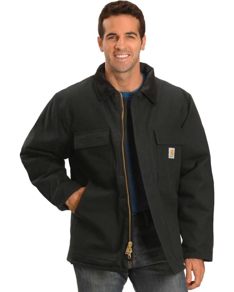 Carhartt Men's Arctic Quilt-Lined Duck Work Coat, Black, hi-res