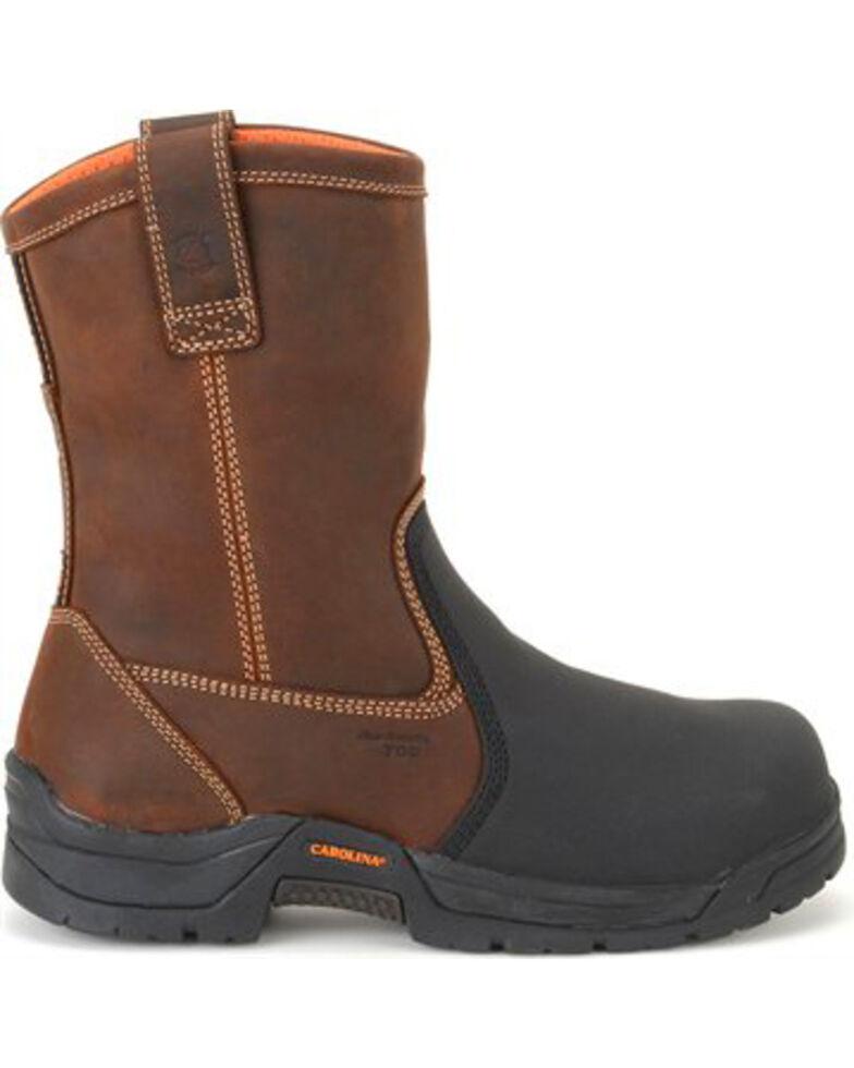 "Carolina Men's Dark 10"" Brown Ranch Wellington Internal MetGuard Boots - Composite Broad Toe, Dark Brown, hi-res"