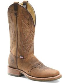Double H Men's Oak Western Boots - Wide Square Toe, Tan, hi-res