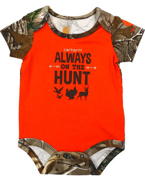Carhartt Infant Boys' Orange Always On The Hunt Onesie , Orange, hi-res