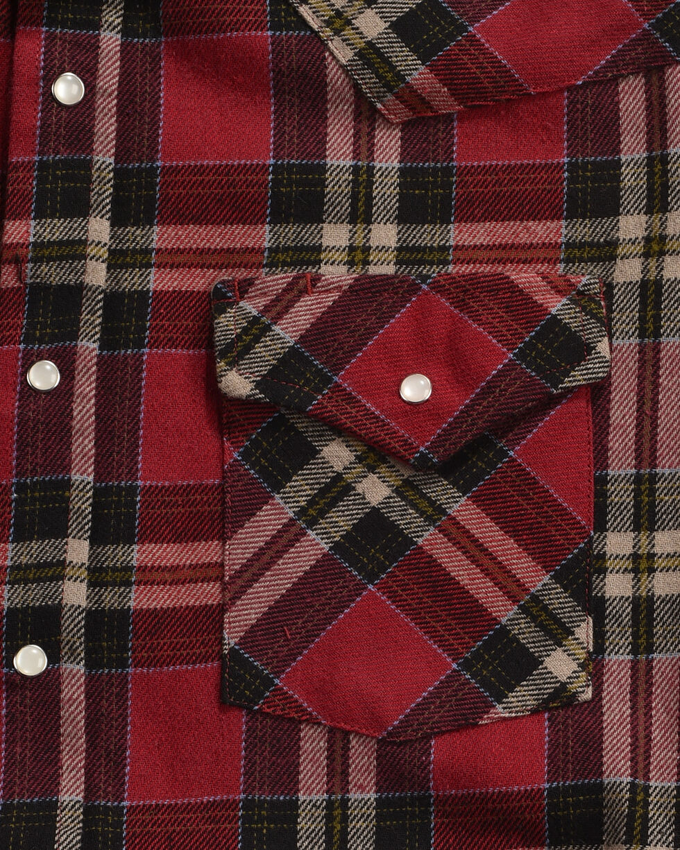 Ely Cattleman Men's Red Brawny Flannel Long Sleeve Snap Shirt - Tall, Red, hi-res