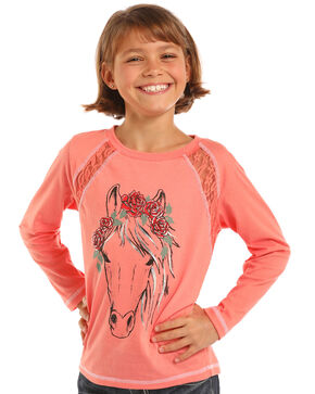 Rock & Roll Cowgirl Girls' Foil Horse Graphic Long Sleeve Top, Coral, hi-res