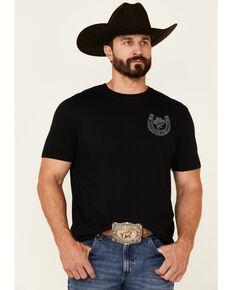 Moonshine Spirit Men's Black Horseshoe Cowboy Skull Graphic Short Sleeve T-Shirt , Black, hi-res