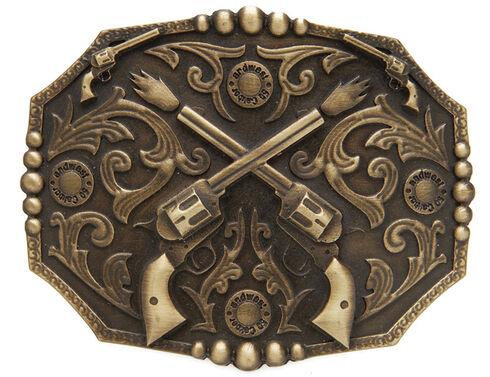 AndWest Men's Dueling Pistols Belt Buckle, Brass, hi-res