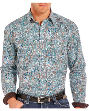 Rough Stock by Panhandle Men's Floral Paisley Printed Long Sleeve Shirt, Blue, hi-res