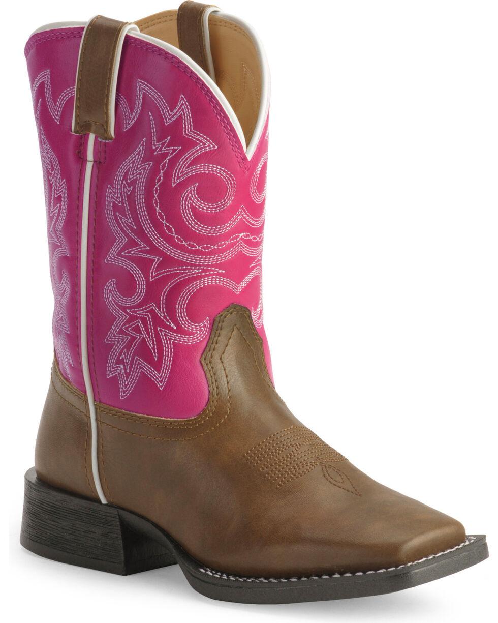 Durango Girls' Lil' Partners Cowboy Boots - Square Toe , Tan, hi-res