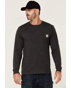 Carhartt Men's Heather Carbon Mountain Graphic Heavyweight Long Sleeve Work Pocket T-Shirt , Charcoal, hi-res
