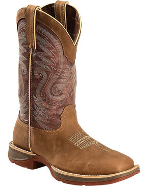 Durango Men's Rebel Embroidered Western Boots - Square Toe, Brown, hi-res