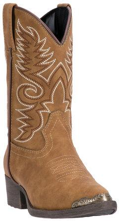 Laredo Boys' Tan Tobi Cowboy Boots - Round Toe , Tan, hi-res