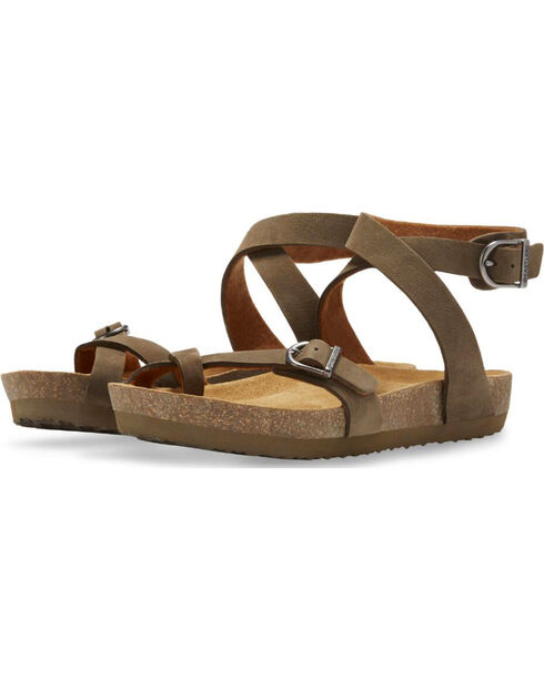Eastland Women's Earth Squam Ankle Strap Sandals , Olive, hi-res