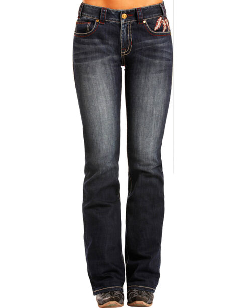 Rock & Roll Cowgirl Women's Feather Pocket Jeans - Boot Cut , Indigo, hi-res