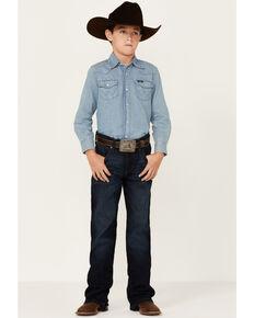 Wrangler Retro Boys' Rocky Mount Dark Wash Relaxed Bootcut Jeans, Blue, hi-res