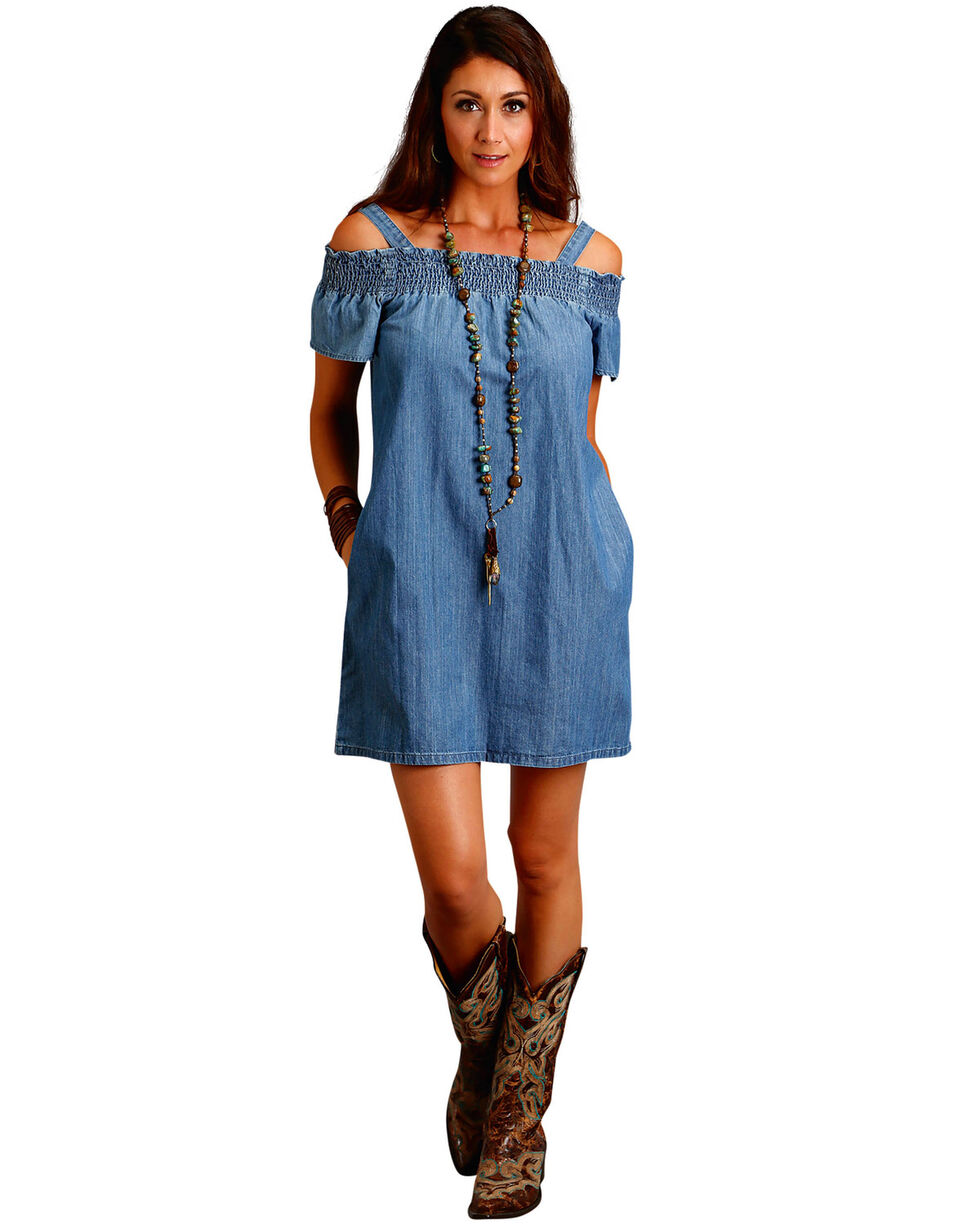 Stetson Women's Denim Off The Shoulder Dress, Indigo, hi-res