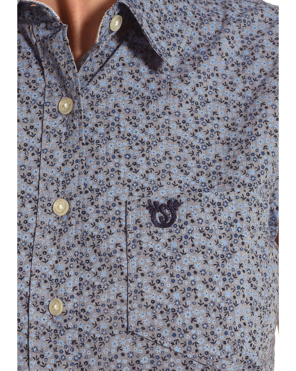 Shyanne Women's Floral Sleeveless Shirt, Blue, hi-res