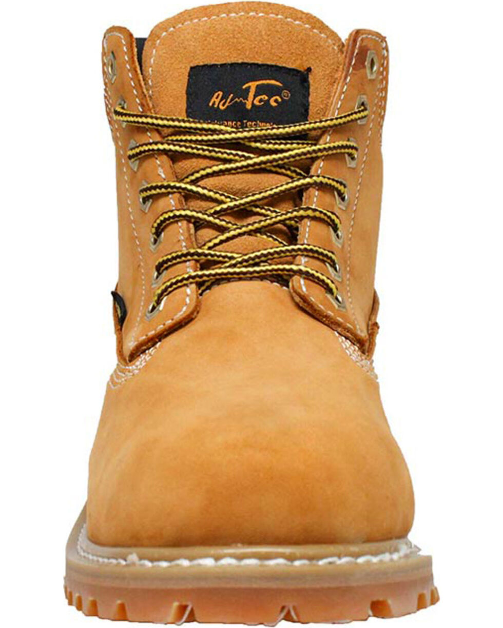 "Ad Tec Youth Boy's 6"" Waterproof Nubuck Leather Work Boots - Round Toe, Tan, hi-res"