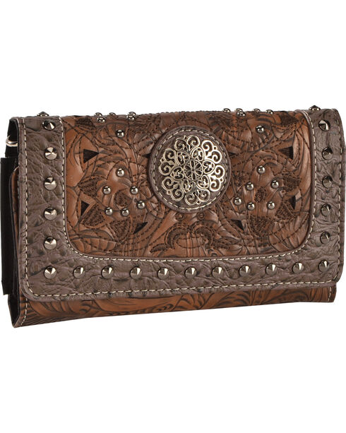 Savana Women's Studded Tooled Concho Wallet, Brown, hi-res