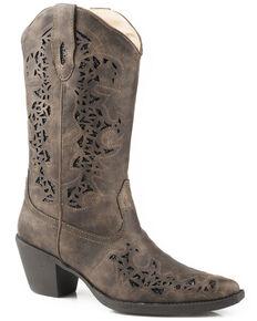 Roper Women's Brown Alisa Metallic Inlay Boots - Pointed Toe, Brown, hi-res
