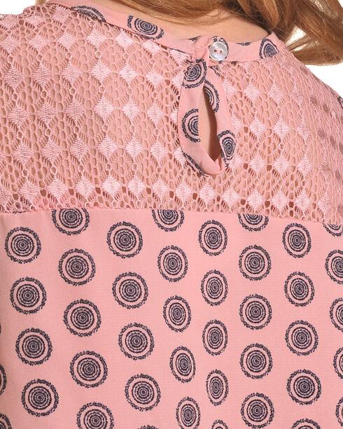 Shyanne Girls' Cold Shoulder Print Top with Necklace, Coral, hi-res