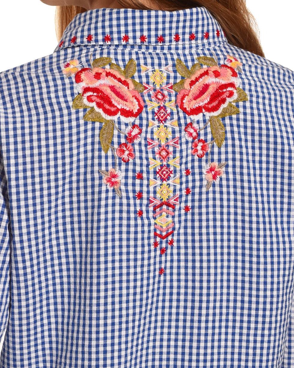 New Direction Sport Women's Blue Floral Gingham Shirt , Blue, hi-res