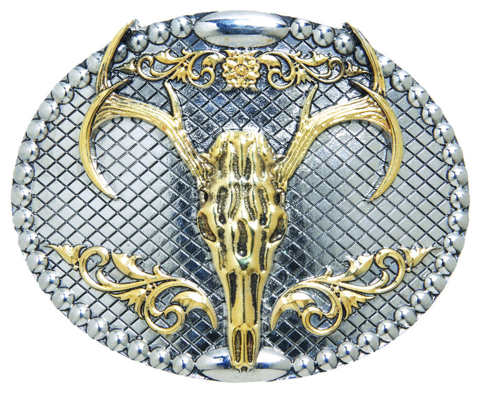 AndWest Men's Two-Tone Oval Elk Skull Belt Buckle, Two Tone, hi-res