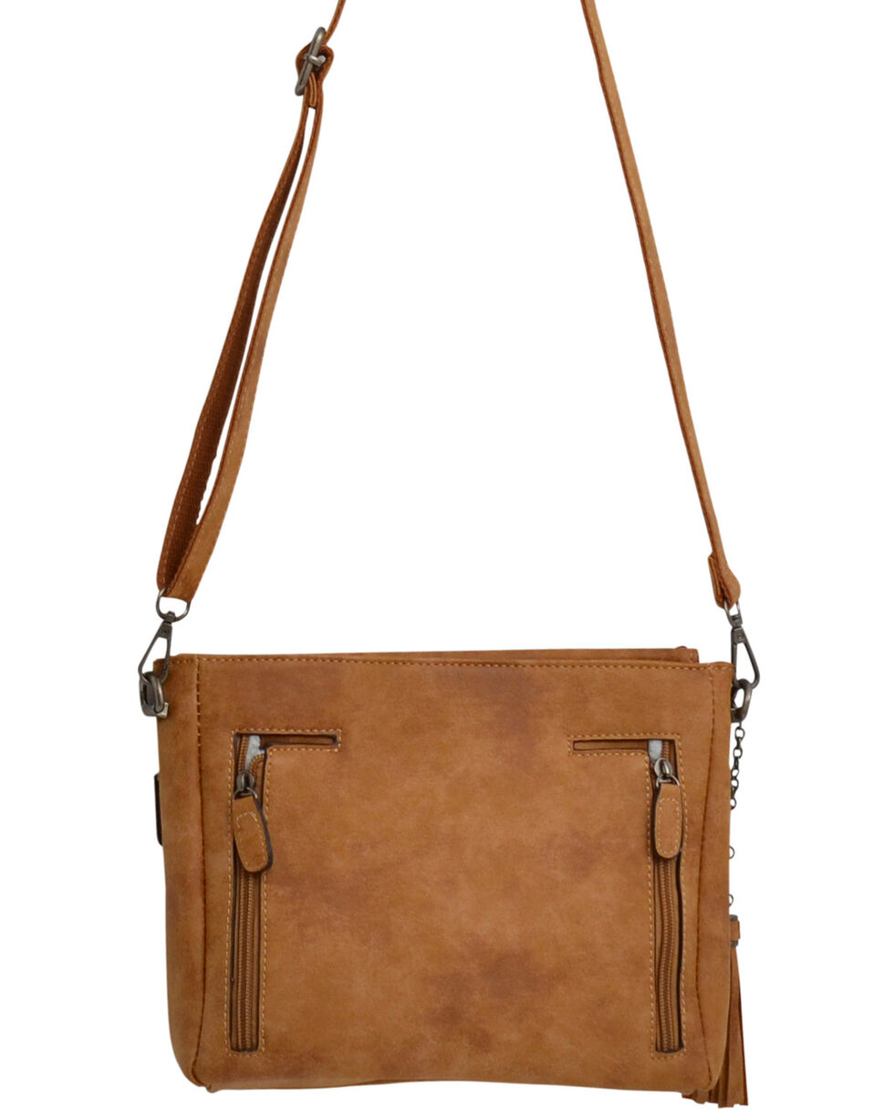Angel Ranch Women's Tan Distressed Conceal Carry Crossbody Bag , Tan, hi-res