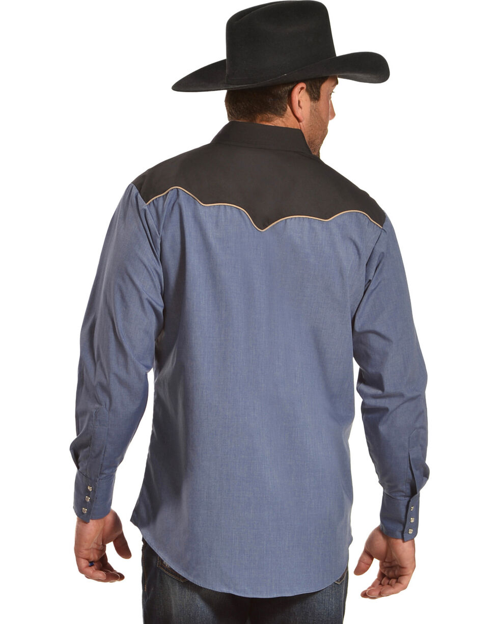 Ely Cattleman Men's Retro Chambray Embroidered Long Sleeve Western Snap Shirt, Multi, hi-res
