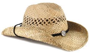Cody James Men's Longhorn Concho Straw Cowboy Hat, Natural, hi-res