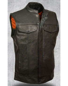 Milwaukee Leather Men's Open Neck Snap/Zip Front Club Vest, Black, hi-res
