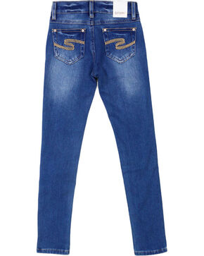 Shyanne Girls' Medium Wash Skinny Jeans, Dark Blue, hi-res