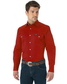 Wrangler Men's Solid Advanced Comfort Long Sleeve Work Shirt, Red, hi-res